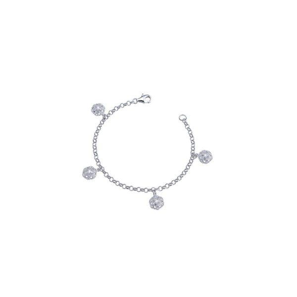Bracciale in argento con zirconi