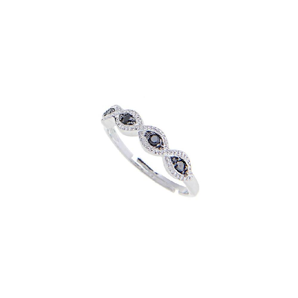 Anello in argento 925./.. con micro pavè con zirconi bianchi e neri.