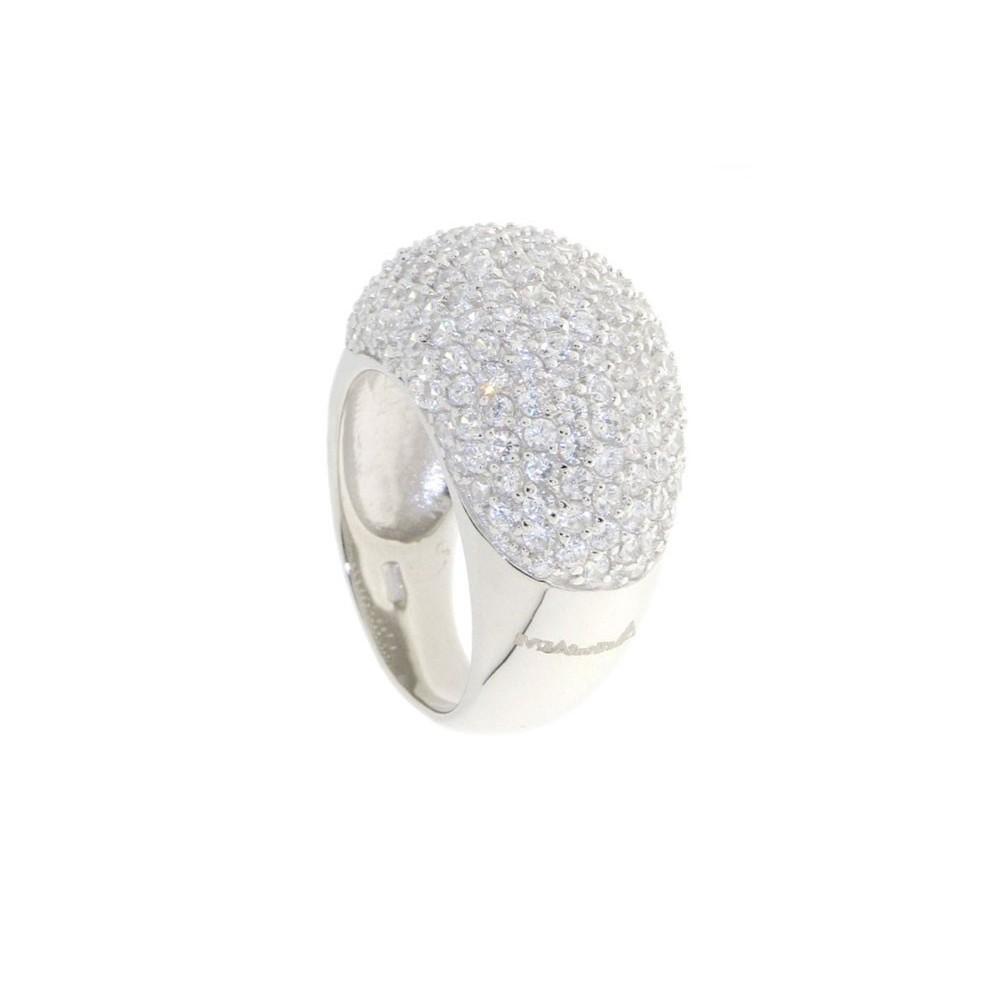 Anello in argento con pavè di zirconi