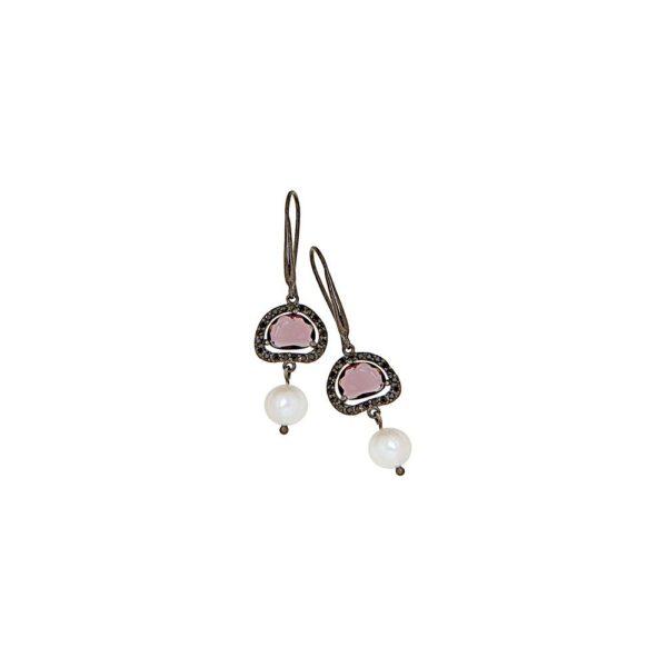 Orecchini in argento con perle e zirconi
