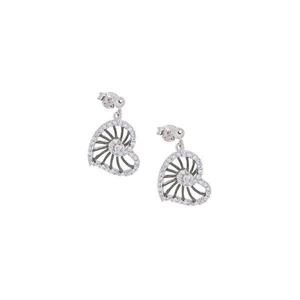 Orecchini in argento con cuore zirconi