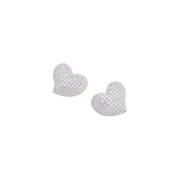 Orecchini con cuore micropavè