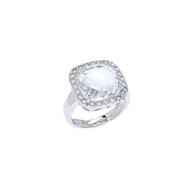 Anello in argento con zirconi