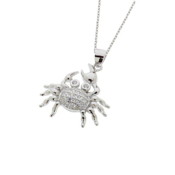 Collana in argento 925 ./.. con zirconi, a forma di ragno.
