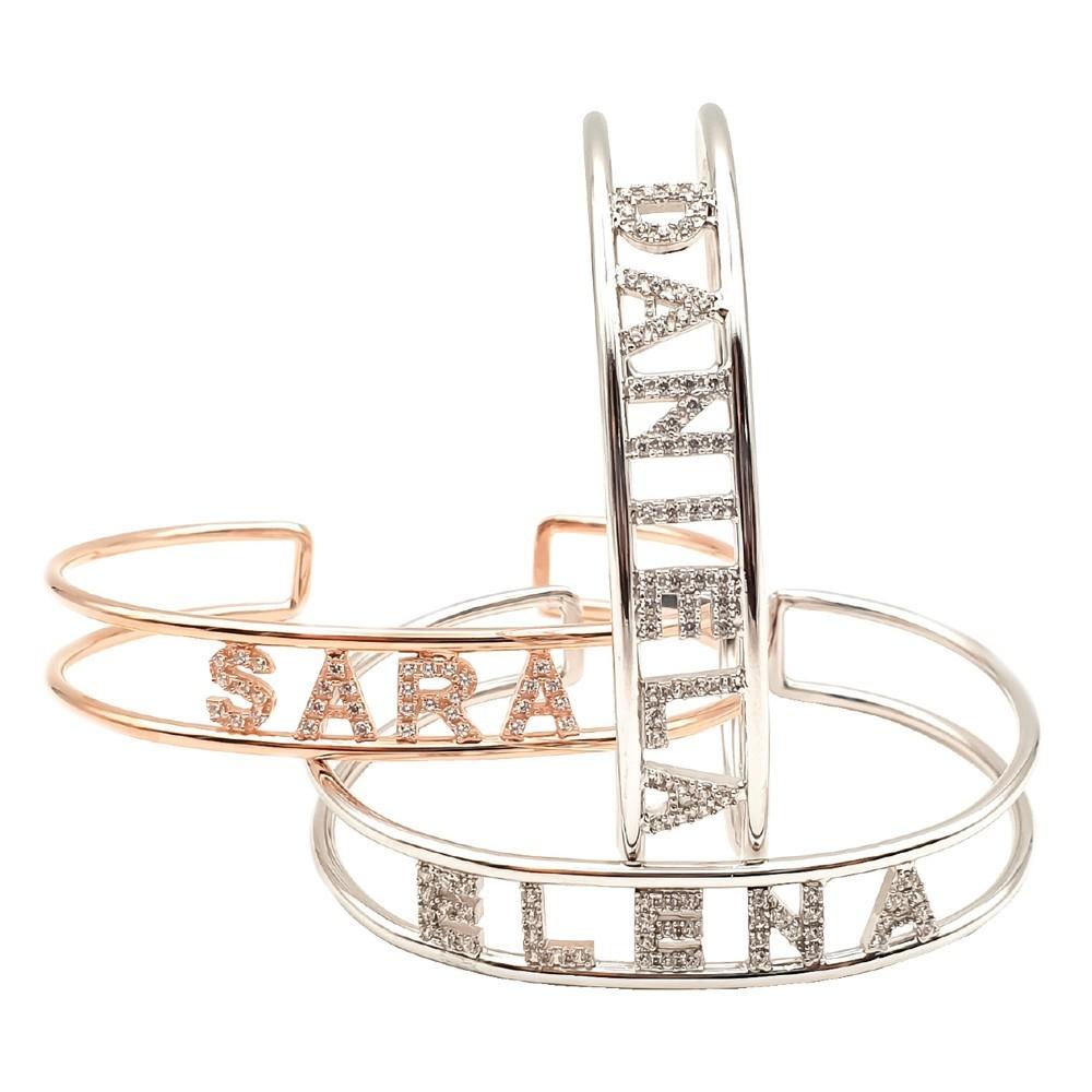 Bracciale in argento con zirconi personalizzabile