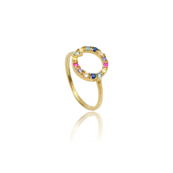 Anello in argento 925./.. con zirconi multicolor