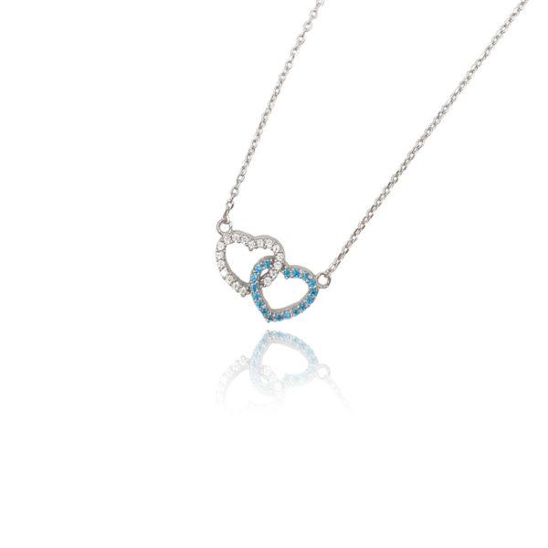 Collana in argento 925./.. con zirconi multicolor, disegno cuore, colore bianco e blu