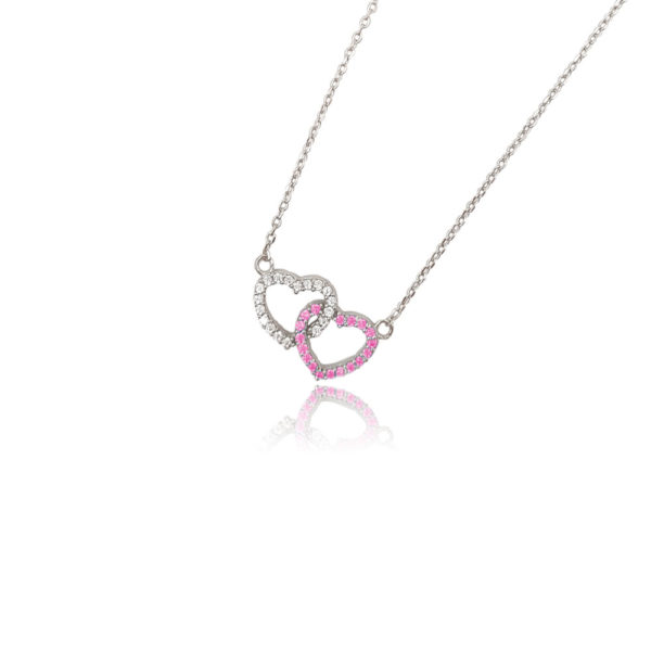 Collana in argento 925./.. con zirconi multicolor, disegno cuore, colore bianco e rosa