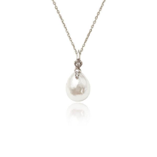 Collana in argento 925./.. con perla e zircone.