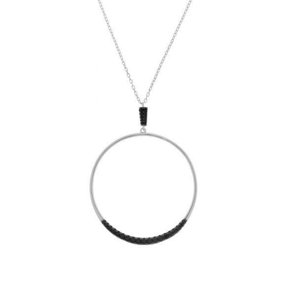 Girocollo in argento 925./.. con zirconi neri