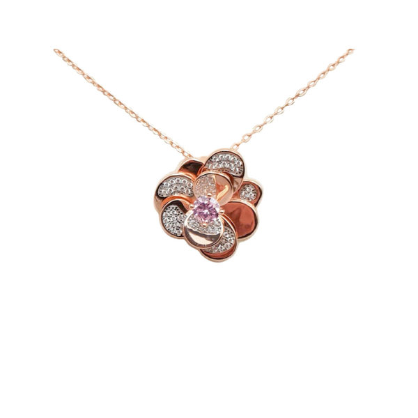 Collana in argento 925./.. rosè con zirconi