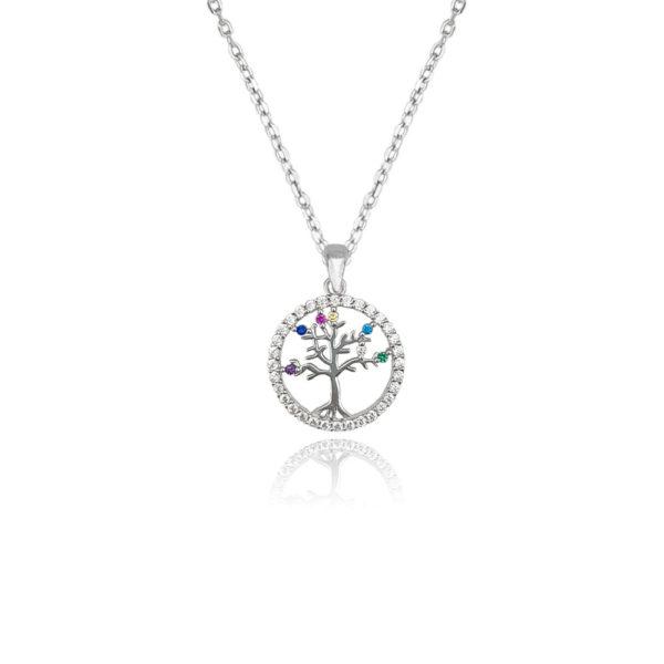 Collana in argento 925./.. con zirconi multicolor, disegno albero della vita