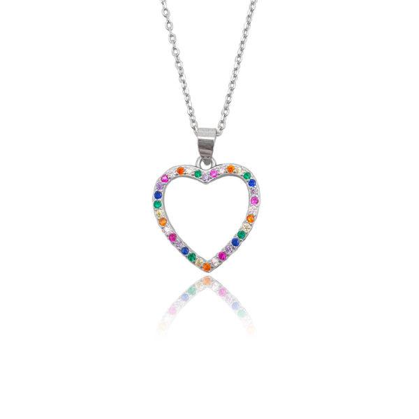 Collana in argento 925./.. con cuore e zirconi multicolor.