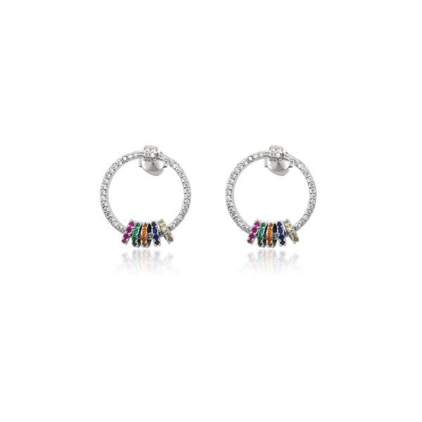 Orecchini in argento 925./.. con zirconi multicolor