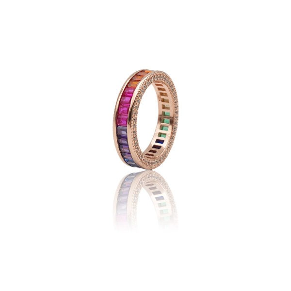 Anello in argento 925./.. rosè con zirconi multicolor