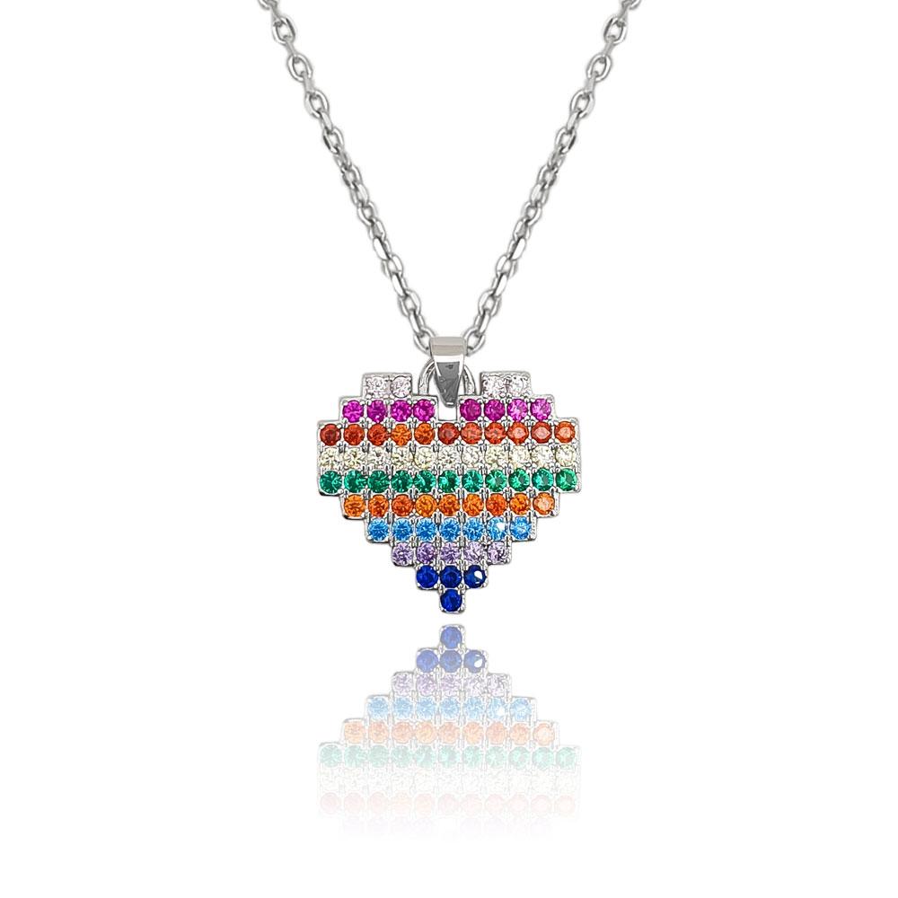 Collana in argento 925./.. con zirconi multicolor, disegno cuore