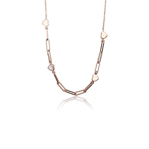 Collana in argento 925./.. con zircone, disegno cuore