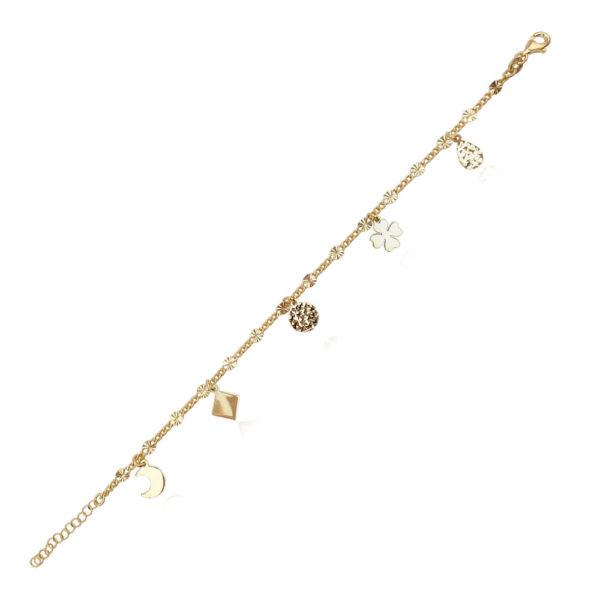 Bracciale in argento 925./.. dorato o rodiato, disegno quadrifoglio e mezzaluna