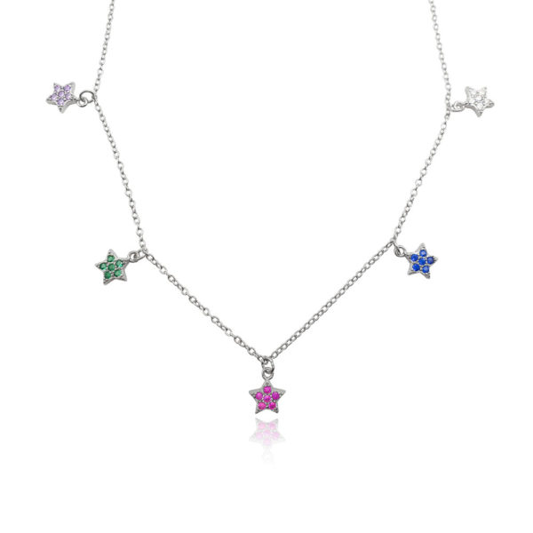 Collana in argento 925./.. con zirconi multicolor, disegno stella
