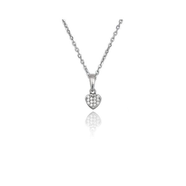 Collana in argento 925./.. con zirconi, disegno con cuore.