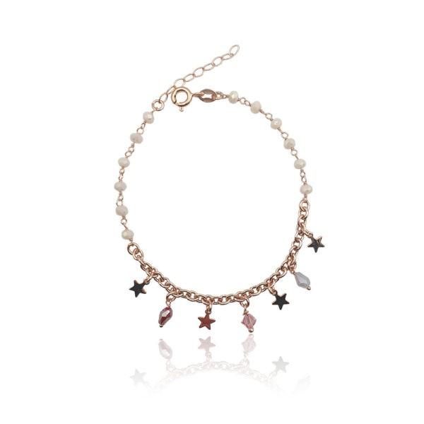 Bracciale in argento 925./.. dorato con zirconi colorati, disegno stella