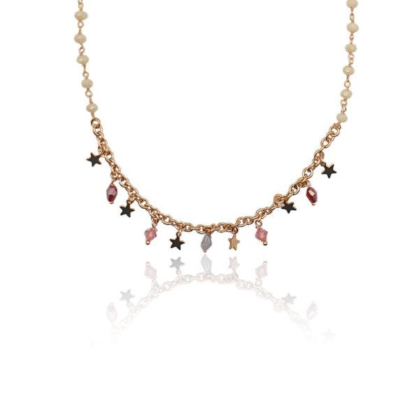 Collana in argento 925./.. dorata con zirconi colorati, disegno stella