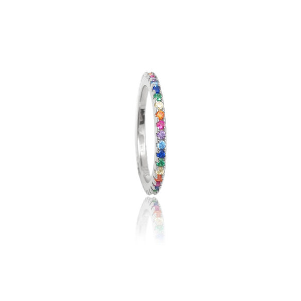 Anello in argento multicolor