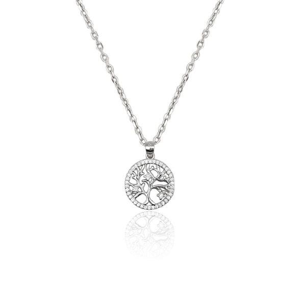 Collana in argento 925./.. con zirconi, disegno albero della vita