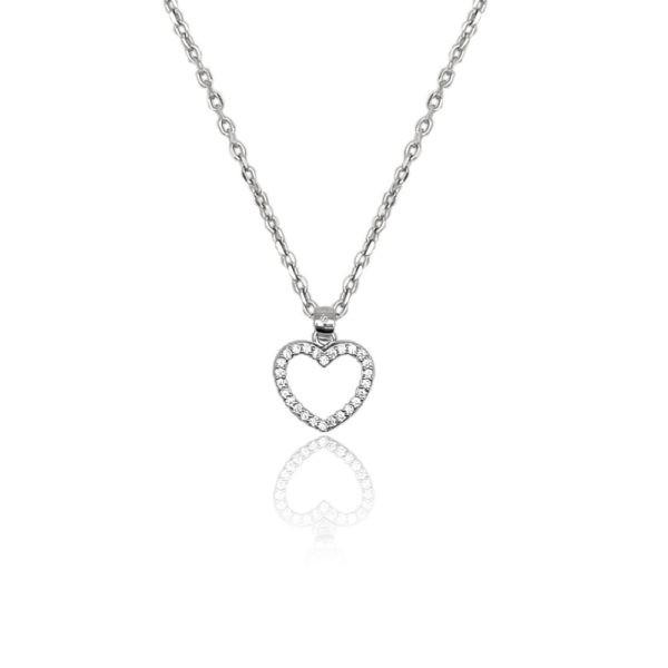Collana in argento 925./.. con zirconi, disegno cuore