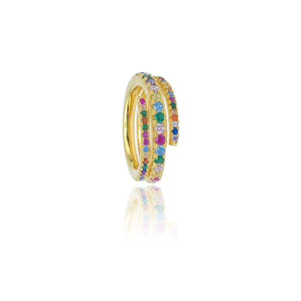 Anello in argento 925./.. dorato con zirconi multicolor