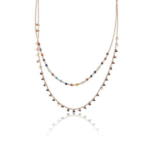 Collana in argento 925./.. rosè con zirconi colorati