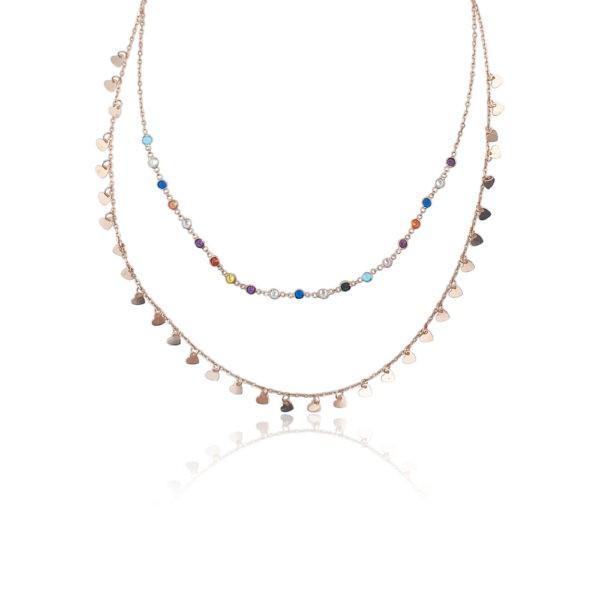 Collana in argento 925./.. rosè con zirconi colorati, disegno cuore