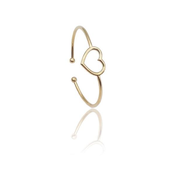 Anello in argento 925./.. dorato, disegno cuore.
