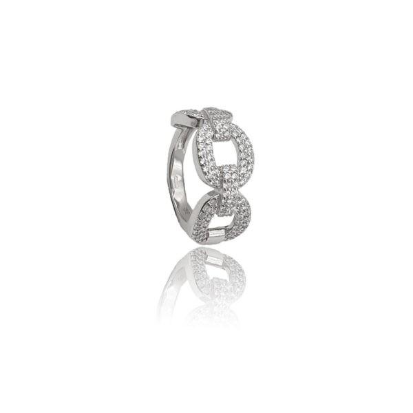 Anello in argento 925./.. con zirconi