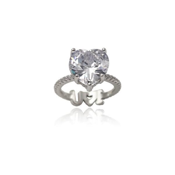 Anello in argento 925./.. con zircone, disegno cuore.